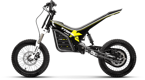 Product shot for the Trial E electric motorcycle for kids.
